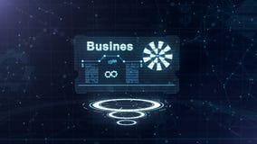 Абстрактный hologram Визитная карточка со знаком дротиков, шестерн-колеса и некоторых других диаграмм Абстрактная голубая предпос иллюстрация вектора