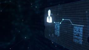 Абстрактный hologram Визитная карточка со знаком дротиков, шестерн-колеса и некоторых других диаграмм Абстрактная голубая предпос иллюстрация штока