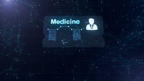Абстрактный hologram Карта медицины с главными съемкой и знаком тарифа сердца, давления и некоторых других диаграмм Абстрактная с иллюстрация штока
