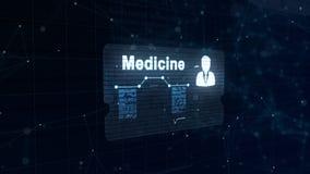 Абстрактный hologram Карта медицины с главными съемкой и знаком тарифа сердца, давления и некоторых других диаграмм Абстрактная с иллюстрация вектора