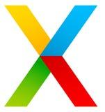 Абстрактный multicolor x, перекрестный значок письма, логотип иллюстрация штока