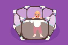 Абстрактный playpen младенца с ребенком внутрь бесплатная иллюстрация
