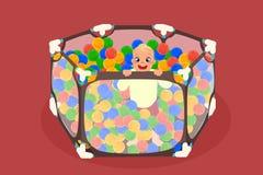 Абстрактный playpen младенца с ребенком внутрь иллюстрация штока