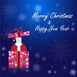 Абстрактный santa в предпосылке сини украшения рождества подарочной коробки иллюстрация штока