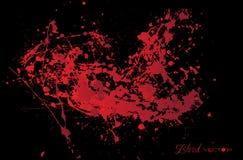 Абстрактный splatter крови изолированный на черной предпосылке, des Иллюстрация штока