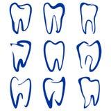 Абстрактными установленное зубами vecto шаржа эскиза Стоковая Фотография RF