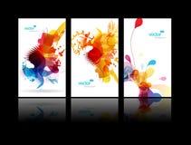 абстрактными цветастыми выплеск установленный иллюстрациями Стоковые Фото