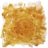 Абстрактным квадратным оранжевым пятно изолированное коричневым цветом Стоковое Фото