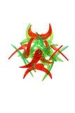 абстрактным красный цвет конструктора изолированный зеленым цветом Стоковые Фотографии RF