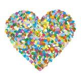 Абстрактным сформированная сердцем красочная куча Confetti вектора на белом ба Стоковые Фотографии RF