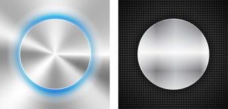 2 абстрактных предпосылки с inset круга металлическим Стоковые Изображения