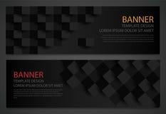 2 абстрактных черных знамени шаблон конструкции дела имеющеся оба eps8 форматирует вебсайт шаблона JPEG Горизонтальные установлен Стоковое фото RF