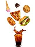 Абстракция высококалорийной вредной пищи стоковое изображение