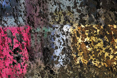 Абстракция цвета и света: малиновые, розовые, желтые, коричневые прямоугольники при черные шарики, неровно освещенные лучами солн Стоковое Изображение