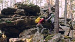 Авантюрное молодые люди друзей trekking в лесе взбираясь вверх огромные утесы, парень помогает девушке давая ее руку акции видеоматериалы