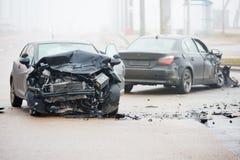 Авария автокатастрофы на улице Стоковое Изображение