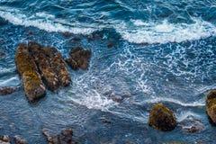 Авария волн в голубых Тихих океан водах Стоковая Фотография