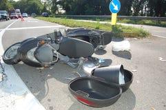 Авария мотоцикла в городской местности Стоковые Изображения RF