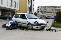 Авария мотоцилк Стоковая Фотография
