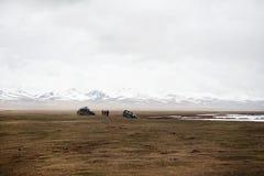Авария на дороге, автокатастрофа, автомобильная катастрофа Ждать помощь Обрыв в горах Стоковая Фотография