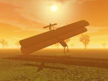 Авария самолет-биплана - 3D представляют Стоковые Изображения