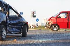 Авария столкновения 2 автомобилей Стоковое Фото