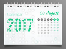 Август 2017 Календарь 2017 Стоковые Фото