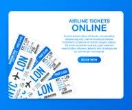 Авиабилеты онлайн Покупая или записывая онлайн билет Перемещение, полеты дела всемирно также вектор иллюстрации притяжки corel бесплатная иллюстрация
