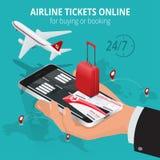 Авиабилеты онлайн Покупая или записывая авиабилеты Перемещение, полеты дела всемирно Онлайн app для билетов иллюстрация штока