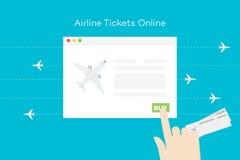 Авиабилеты онлайн Схематическая плоская иллюстрация вектора Абстрактная рука над браузером с самолетом Стоковые Фотографии RF