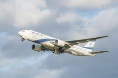 Авиакомпании Боинг 777 Эль-Аль Стоковые Фотографии RF