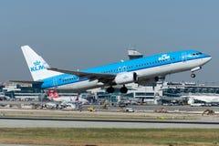 Авиакомпании Боинг 737-8K2 KLM PH-BXW королевские голландские Стоковое Изображение