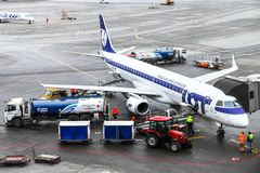 Авиакомпании Embraer ERJ-195LR СЕРИИ польские стоковая фотография rf