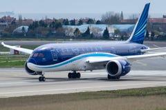 Авиакомпании VP-BBS Azal Азербайджана, Боинг 787-8 DREAMLINER стоковая фотография rf
