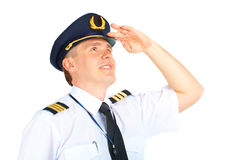 авиакомпания смотря пилота вверх стоковые фотографии rf