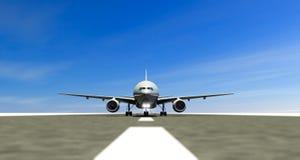 Авиалайнер на посадочной полосе аэропорта, взлетно-посадочная дорожка взлета, ездя на такси двигатели иллюстрация вектора