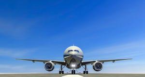 Авиалайнер на посадочной полосе аэропорта, взлетно-посадочная дорожка взлета, ездя на такси двигатели иллюстрация штока