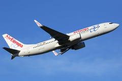 Авиапорт Мадрида Barajas самолета Air Europa Боинга B737-800 Стоковое Изображение RF
