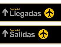 Авиапорт прибытия и отклонений подписывает внутри испанский язык иллюстрация вектора
