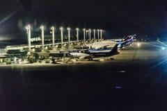 Авиапорт Сантьяго de Чили на ноче Стоковое Изображение