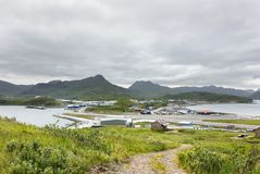 Авиапорт Тома Madsen в голландской гавани, Unalaska, Аляске стоковое изображение