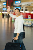 Авиапорт человека развевая до свидания Стоковые Изображения