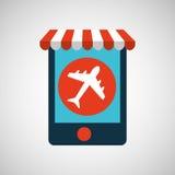 Авиапорт электронной коммерции и перемещения мобильного телефона иллюстрация штока