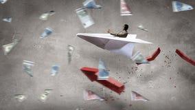 Авиатор в плоскости бумаги Мультимедиа Стоковые Изображения RF
