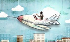 Авиатор в плоскости ретро  Мультимедиа Стоковые Изображения