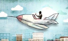 Авиатор в плоскости ретро  Мультимедиа Стоковое Изображение