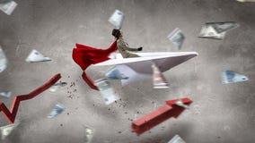 Авиатор женщины плавая в небо Мультимедиа Стоковое Фото
