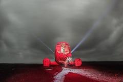 Авиационная катастрофа DC в исландском взгляде ландшафта земли на ноче стоковое изображение rf