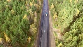 Авиационная съемка шоссе видеоматериал