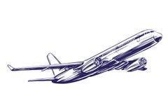 Авиалайнер, воздушное судно вручает вычерченный эскиз иллюстрации вектора Стоковое Изображение RF